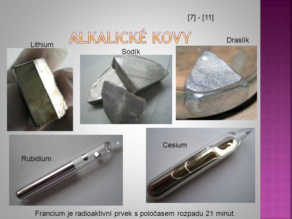 Alkalické kovy [7] - [11] Draslík Lithium Sodík Cesium Rubidium